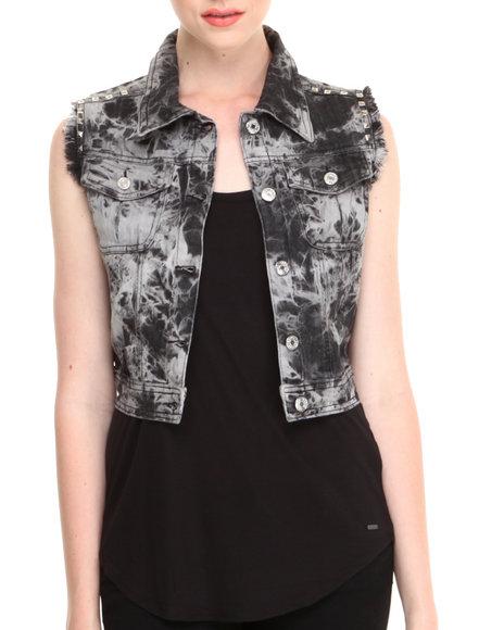 Fashion Lab - Women Black Donny Acid Wash Denim Vest W/ Fray & Stud Details