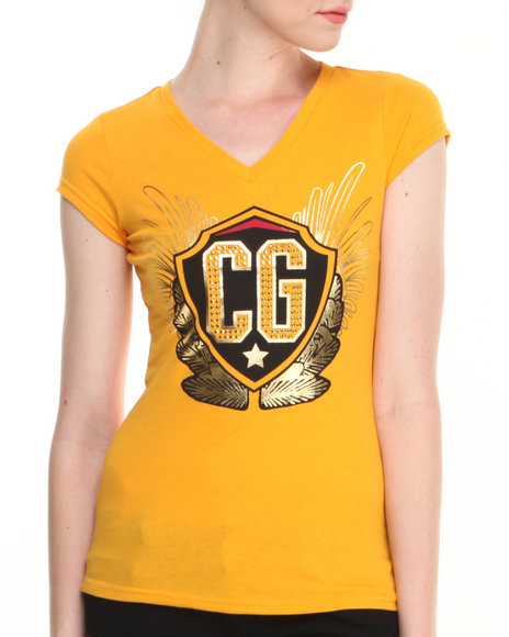 Coogi - Women Yellow Cg V-Neck Tee
