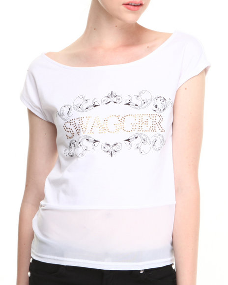 Coogi - Women White Coogi Swagger Scoop Neck Tee - $6.99