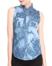 Tops - All Over Stars Chambray Wave Dye Print Muscle Shirt