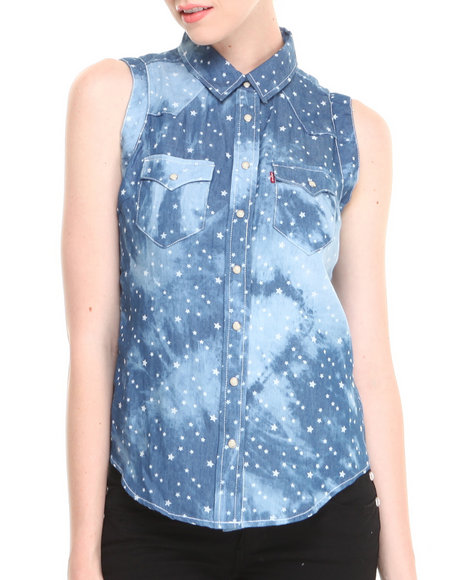 Levi's Blue All Over Stars Chambray Wave Dye Print Muscle Shirt