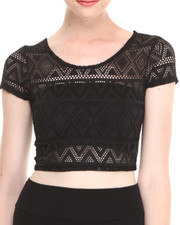 Fashion Lab - Aztec Print Knit Short Sleeve Crop Top w/ Deep Scoop Neckline in Back