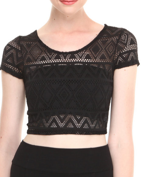 Fashion Lab - Women Black Aztec Print Knit Short Sleeve Crop Top W/ Deep Scoop Neckline In Back - $7.99
