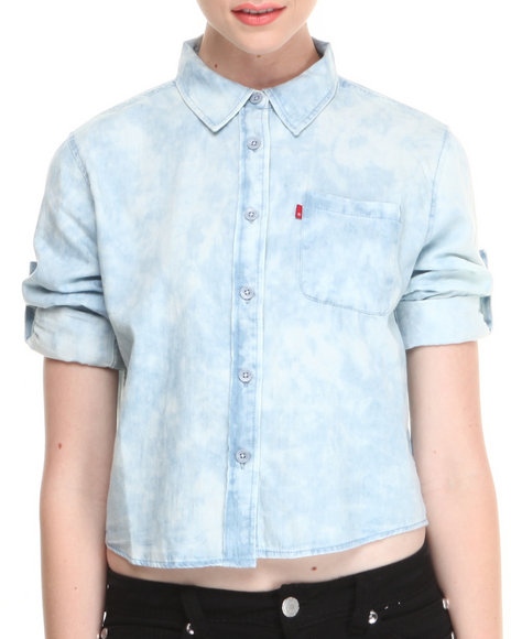 Levi's Blue Crop Button Down W/Roll Up Sleeves