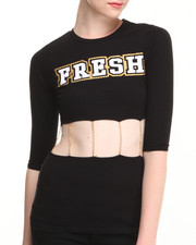 "Tops - Short Sleeve Chain Cut-Out ""Fresh"" Top"
