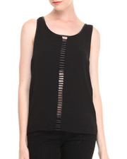 Women - Racerback Tank w/ Vegan Leather Trim