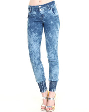 Women - Smocked Ankle Skinny Jean