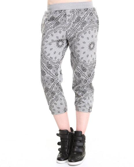 Crooks & Castles Grey Squadlife Sweatpant W/Bandana Print