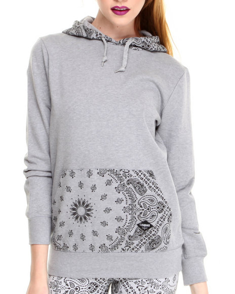 Crooks & Castles Grey Squadlife Hooded Pullover W/Bandana Print