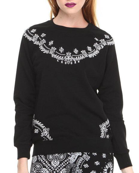 Crooks & Castles Black Squadlife Sweatshirt W/Bandana Print
