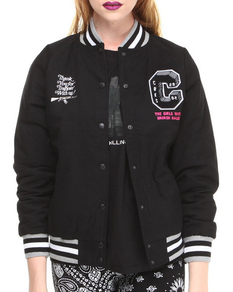 Crooks & Castles Black Double Barrel Woven Varsity Jacket