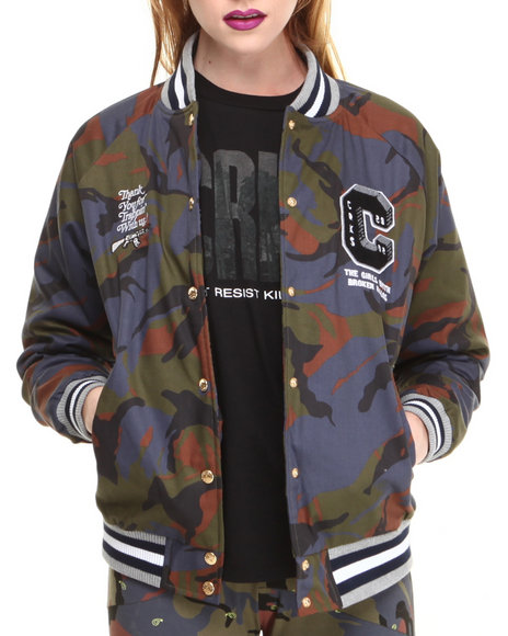 Crooks & Castles Camo Double Barrel Woven Varsity Jacket