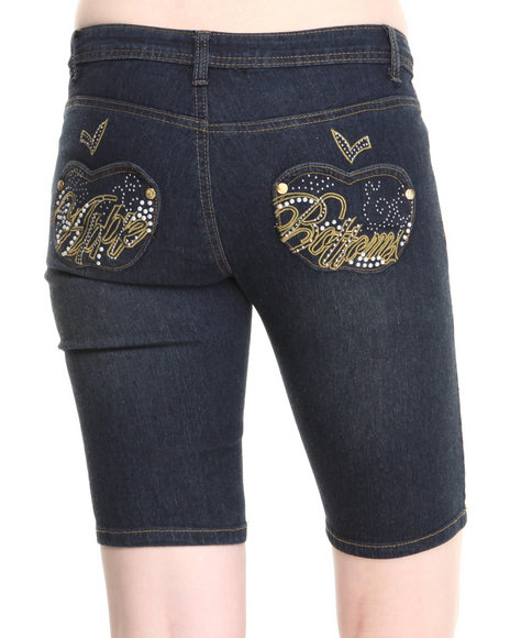Apple Bottoms - Women Medium Wash Script Bling Pocket Bermuda Jeans