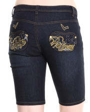 Women - Script Bling Pocket Bermuda Jeans