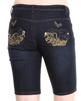 Apple Bottoms - Script Bling Pocket Bermuda Jeans