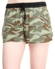 Women - Georgette Camo Polyester Drawstring Short