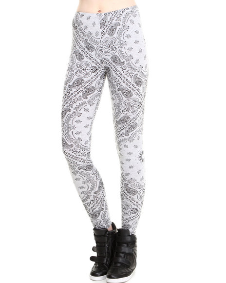 Crooks & Castles - Women Grey Squadlife Bandana Print Leggings - $21.99
