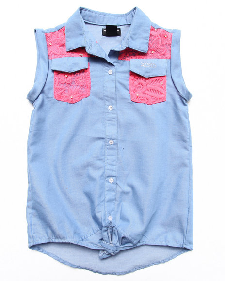 XOXO Girls Light Wash Lace Trim Chambray Front Tie Top (7-16)