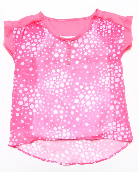 La Galleria Girls Light Pink Chiffon Henley W/ Cami (7-16)