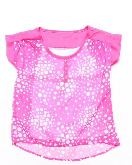 La Galleria - Girls Pink Chiffon Henley W/ Cami (7-16)