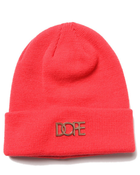 Dope Gold Metal Logo Beanie Red