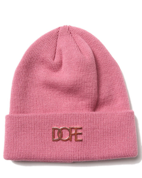 Dope Rose Gold Metal Logo Beanie Rose Gold