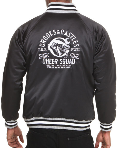 Crooks & Castles Black Woven Cheer Squad Jacket