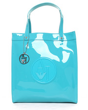 Handbags - Eco Patent Tote w/ Logo Medallion