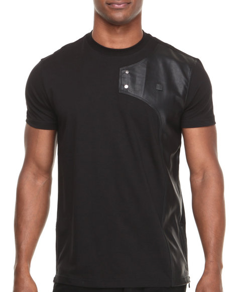 Forte' - Men Black Neo P U - Trimmed S/S Tee W/ Zippers