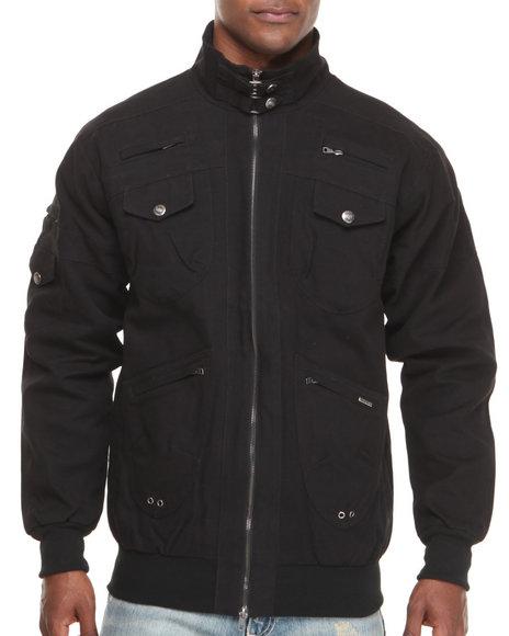 Pelle Pelle - Men Black 2 Way Zip Up Twill Jacket