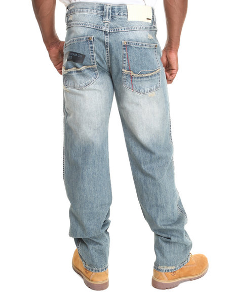 Pelle Pelle - Men Medium Wash Gel Print Denim Jeans - $80.99