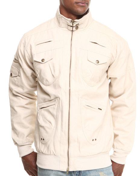 Pelle Pelle Beige 2 Way Zip Up Twill Jacket