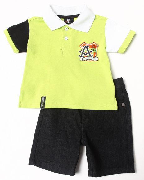 Akademiks Boys Lime Green 2 Pc Set Polo & Shorts (Infant)