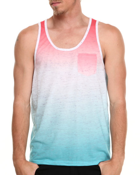 Buyers Picks - Men Blue,Red Heathered Ombre Tank - $6.99