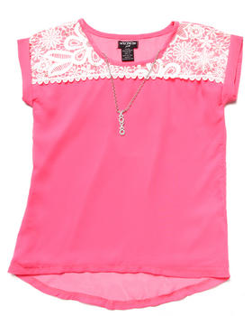 XOXO - Lace & Chiffon Top (7-16)