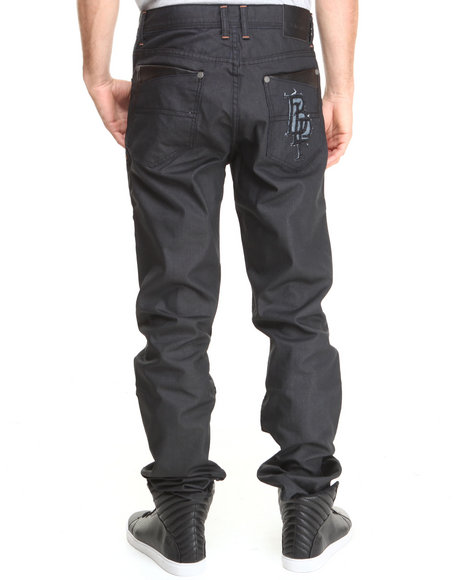 Blac Label Black Faux Leather Trimmed Denim Jeans
