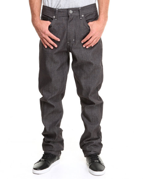 Blac Label Grey Faux Leather Trimmed Denim Jeans