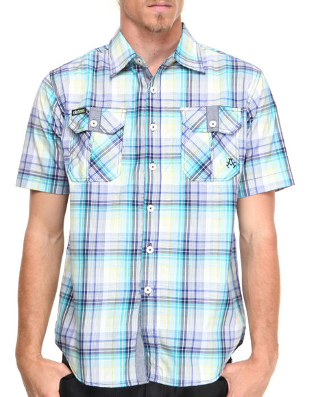 Akademiks - Men Blue Gto Paid S/S Button Down Shirt