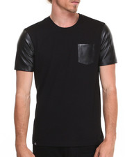 Shirts - Kurt Short Sleeve Tee w/ Perforated Vegan Leather Trim