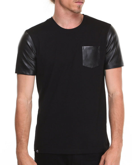 Akademiks - Men Black Kurt Short Sleeve Tee W/ Perforated Vegan Leather Trim - $23.99