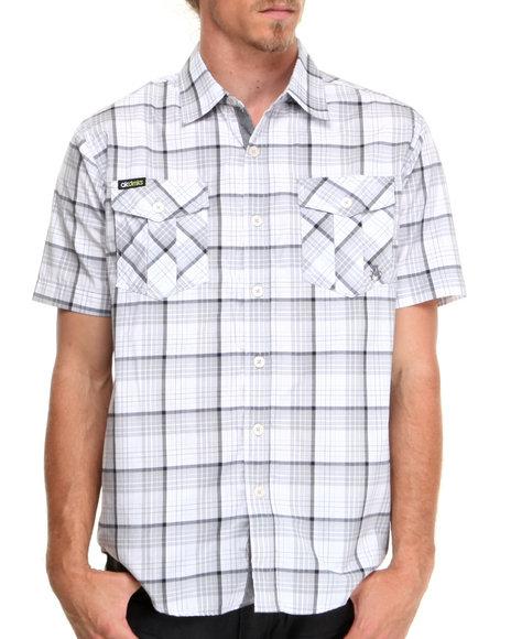 Akademiks - Men Grey Simon Plaid S/S Button Down Shirt