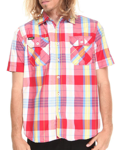 Akademiks - Men Red Randal Plaid S/S Button Down Shirt