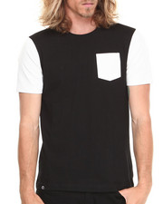 Akademiks - Kurt Short Sleeve Tee w/ Perforated Vegan Leather Trim