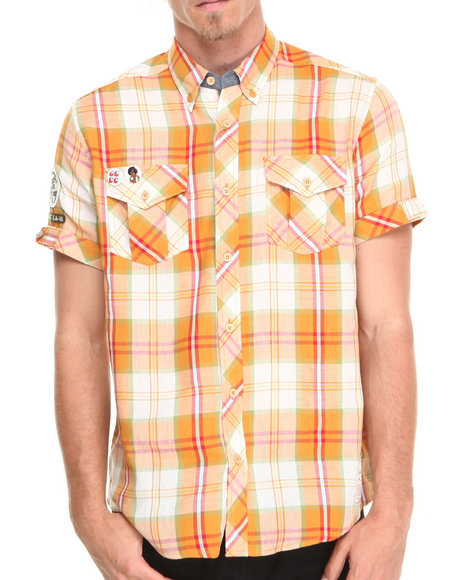 AKOO Gold Roller Rink Plaid S/S Button-Down