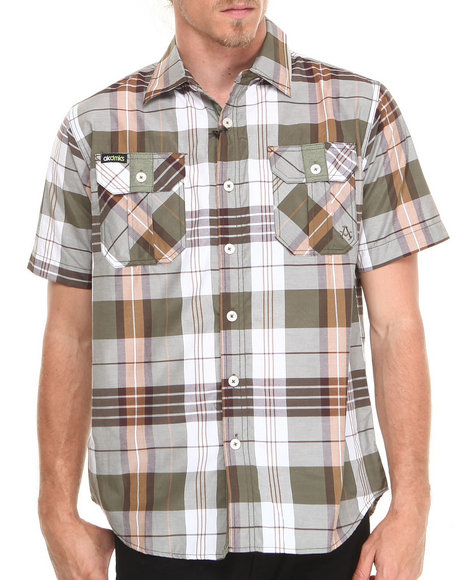 Akademiks - Men Olive Randal Plaid S/S Button-Down Shirt