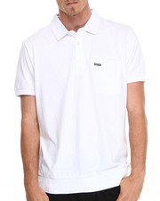 Shirts - Solid Jersey Polo with Pocket Detail