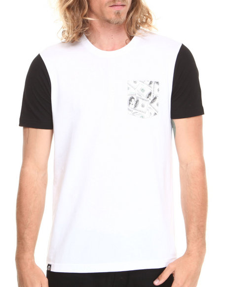 Akademiks - Men White Commander Colorblock Tee W/ Vegan Leather Money Print Pocket - $7.99