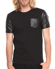 Akademiks - Vault Short Sleeve Tee with Embossed Vegan Leather Trim