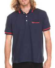 Shirts - Pique Polo w/ Contrast Stripe Detail