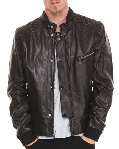 Members Only - Men Black Members Only Fools Gold X Leather Jacket